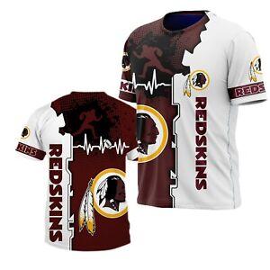 Washington Redskins Football T Shirt Mens Summer Crew Neck Shirt Short Sleeve