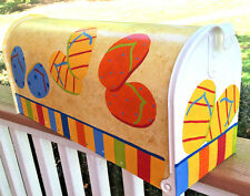 Hand Painted Mailbox FREE SHIPPING Post Mount Colorful Flip Flops, Sandals
