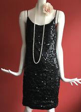 NEXT Vintage Black Sequins Flapper Gatsby 1920s Charleston Party Dress Size 8-10