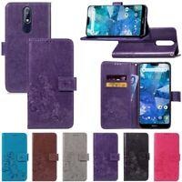 Leaf Flip PU Leather Wallet Strap Case Cover For Nokia 2.1 3.1 5.1 6.1 Plus 7.1