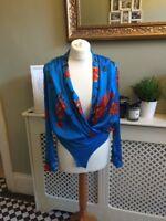 ZARA Blue Silky Floral Print Shirt Bodysuit Blouse Plunge V Neck Medium BNWT