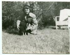 Woman & Her Little Dog Wearing Sweater Vin 00006000 tage 1950 Photo Boston Terrier Mix?