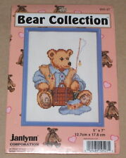 "Janlynn ""Fisherman / Fishing Teddy Bear"" Cross Stitch Kit w/ Frame NIP 5x7"""