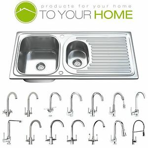 1.5 One & Half Bowl Stainless Steel Kitchen Sink, Drainer & Waste 1502