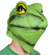 Deluxe Green Frog Mask Latex Amphibian Fancy dress Costume Animal Pond Pet Toad