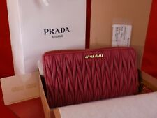 NIB MIU MIU PRADA PEONIA MATELASSE LUX LEATHER ZIP CONTINENTAL WALLET