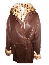 Vtg 90s Ladies Italian Designer PELLIUM Calf Leather Animal Collar Coat sz M J59