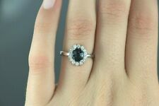 $2,850 14K White Gold Oval Blue Sapphire Round Diamond Cocktail Ring Size 6.5