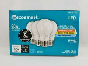 EcoSmart 60-Watt Equivalent A19 Dimmable LED Light Bulb, Selectable CCT (4-Pack)