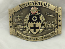 5th Cavalry Loyalty and Courage Army Solid Brass Belt Buckle Last One!