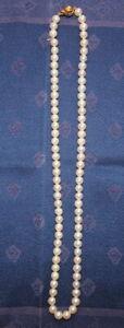 Schmuck, Zucht-Perlenkette,Ø 6 mm, 22 cm,Schloss: 333 Gold,ungeknüpft,20.Jhdt,