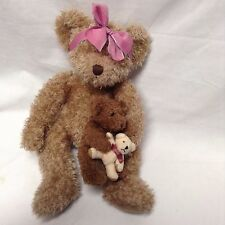 "Russ Plush Marmie 15"" tall Mama with Baby with Teddy Bear VGC CUTE"
