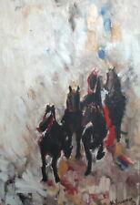 IMPRESSIONIST OIL PAINTING HORSES LANDSCAPE SIGNED