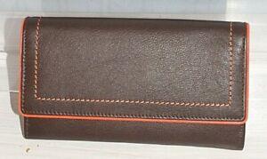 RFID Blocking Golunski Fold Over Matinee Leather Purse * Brown