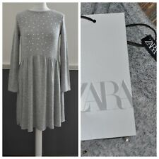 ZARA Women's Long Sleeve Knitted Stud Top Dress Soft Grey S / Small BNWT
