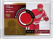 STEVE YZERMAN 2001 UD NHL LEGENDS MILESTONES GAME USED JERSEY