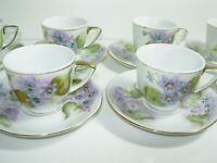 Set 8 Antique HAND PAINTED Porcelain Demitasse Cup & Saucer BLUE PURPLE VIOLETS