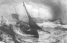 FISHING SAILBOAT STEAMER IN STORM BY SHORE PIER, Original 1881 Art Print Etching