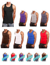 NE PEOPLE Mens Comfy Ribbed Knit A-Shirts Undershirts Tank Tops S-5XL [NEMT105]