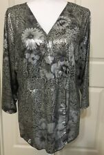 Susan Lawrence size 1X grey faux wrap v-neck 3/4 sleeve top women's