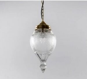 Antique Vintage Art Deco Nouveau Brass Glass Ceiling Fixture Hanging Light Lamp