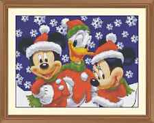 xmas mickey and minnie and donald chrristmas CROSS STITCH CHART 12.0 x 9.0Inches