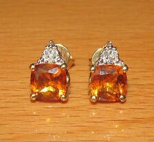 BEAUTIFUL 10ct  GOLD YELLOW TOPAZ & DIAMOND STUD EARRINGS FOR PIERCED EARS