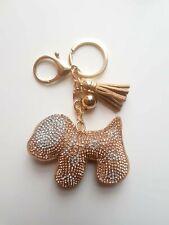 Dog Gold Key ring Women Diamante Handbag Charm Key Chain Gift Girl Key ring