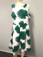 Target  White with green leaves fit and flare dress size 16 womens