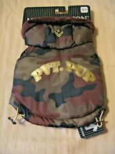 Dog Coat Jacket Hoodie CAMOFLAUGE w/ Private Pup in Gold Letters *XS or S* New!
