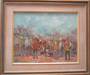 Nice Painting by James Thompson Picnic Horse Races 49cm x 39cm