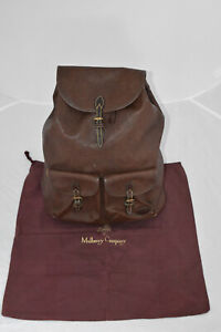 Mulberry Brown Scotchgrain Leather Large Drawstring Rucksack Backpack Bag Unisex