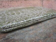 Croc Green Textured Flat Clutch Wallet Metal Framed NEW