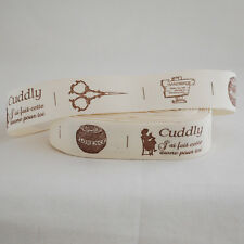 Retro Cotton Fabric Ribbon Sewing Label - Hobby Handmade Thread Spool Scissors