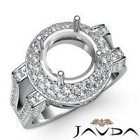 Diamond Engagement Filigree Ring 14k White Gold Halo Pave Round Semi Mount 1.1Ct