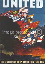 British WW2 Poster United Nations Fight For Freedom