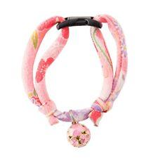 Necoichi Chirimen Cat Collar with Clover Bell (Pastel Pink)