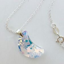 Swarovski elements necklace pendant crystal moon jewellery aurore AB 925 silver