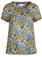 SEASALT BLUE Yellow Sketched Honeysuckle Trengrouse Top Organic Cotton RRP£39.95