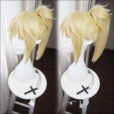 Fate Apocrypha Saber Mordred Blonde Braid Ponytail Wig Hair Cosplay Halloween