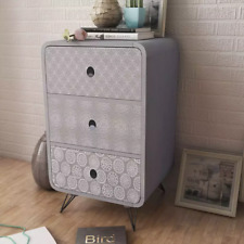 Rustic Sideboard Bedside Cabinets Cupboard Side Table Nightstand W/Drawers Grey