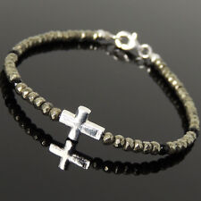 Men's Women Gold Pyrite Black Onyx Bracelet 925 Sterling Silver Cross Clasp 1078