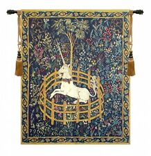 """MEDIEVAL TAPESTRY WALL HANGING UNICORN IN CAPTIVITY 42""""x33"""" Cluny Reprodiction"""