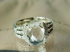 David Yurman Silver Petite Wheaton 8x10 mm White Topaz Ring with Diamonds size 9