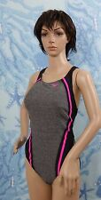 Speedo Heather Quantum Splice One Piece Swimsuit - Power Pink/gray, size 10