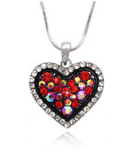 Red Bling Heart Pendant Necklace Valentine's Day Birthday Jewelry GIFT BOX