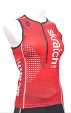 Panache skratch Labs Women Sleeveless Triathlon Singlet Xs Red Half Zip Top Race