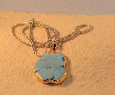 18K GP Natural Blue Magnesite Turquoise  Pendant GP Rope Chain Necklace
