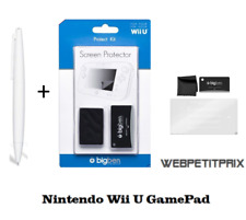 Stylet Large Blanc + Kit de protection Ecran Nintendo WIIU  Neuf