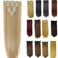 100% real Natural Full Head Clip in on Hair Extensions Extentions as human SS20